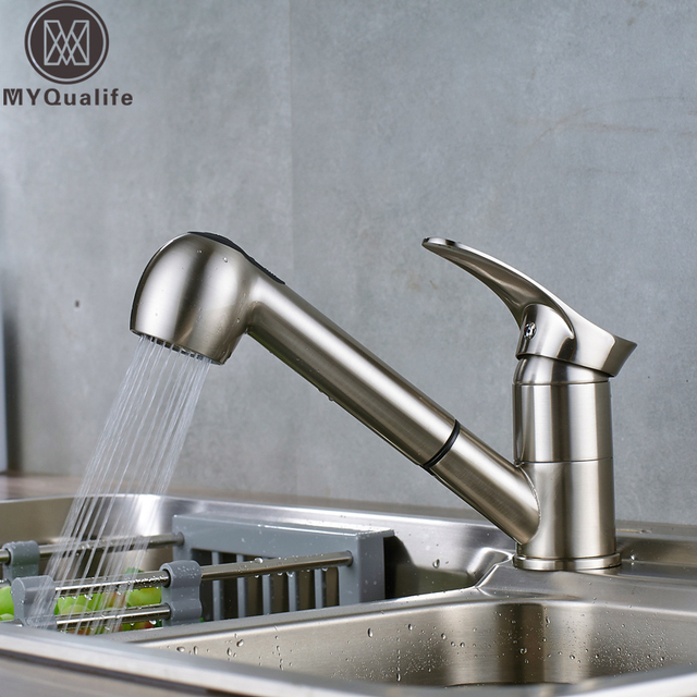 Pull Out Kitchen Sink Faucet Single Lever Kitchen Mixer Tap Brushed Nickel Sprayer Steam Spout Hot Cold Water Faucet for Kitchen