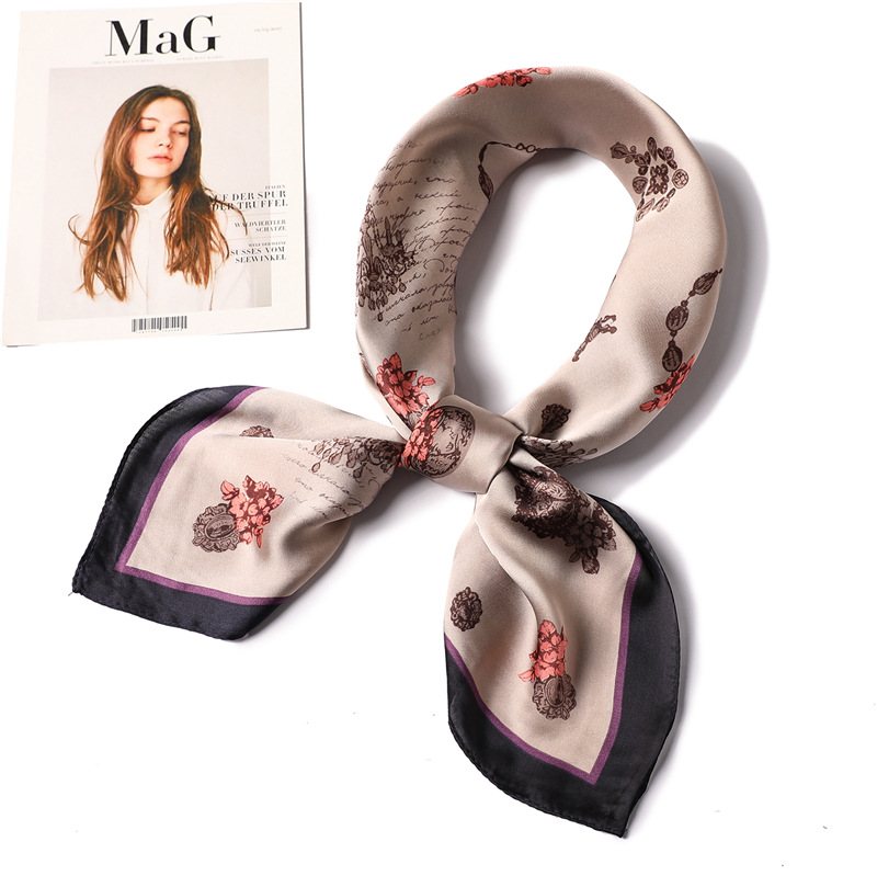 Ruicesstai Square Scarf Hair Tie Band For Business Party Women Elegant Small Vintage Skinny Retro Head Neck Silk Satin
