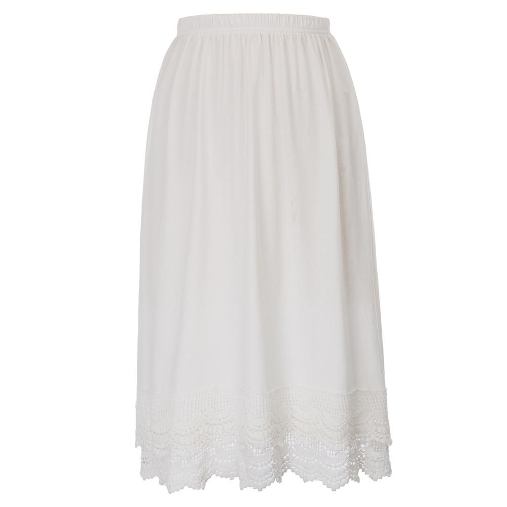 2018 Autumn Women Satin Half Slip Underskirt Midi Petticoat Loose Fit Sexy Skirt Casual Wear White Black