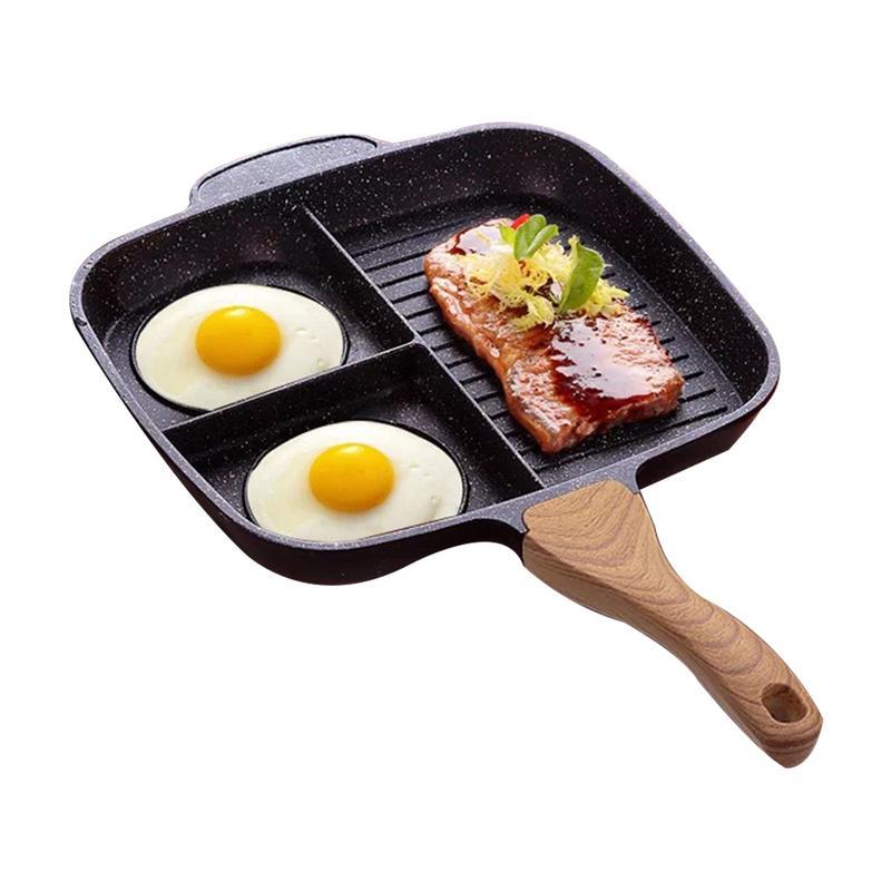 Steak frites Pot Omelette Petit Poêle À Pot 3 Section Divisée Four Repas Poêle Non-Bâton En Aluminium Induction Poêle