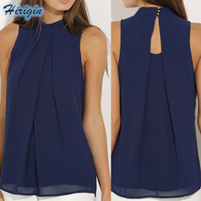 Summer Blouses HOT Women Casual Sleeveless O-Neck Blouse Dark Blue Loose Chiffon Size S-XL