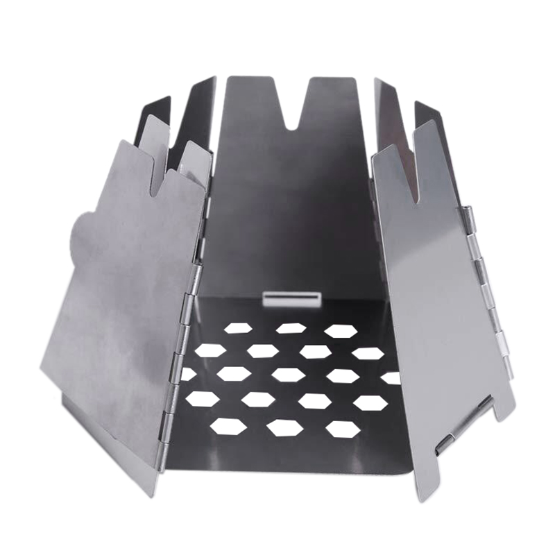 Mini Folding Stainlesss Steel Hexagon Wood Stove Portable Outdoor Camping G7C8