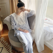 Pajamas Suit Women Princess Sweet Pyjamas Fairy Femme Pajama Sets Autumn Long Sleeve Cotton Lovely P