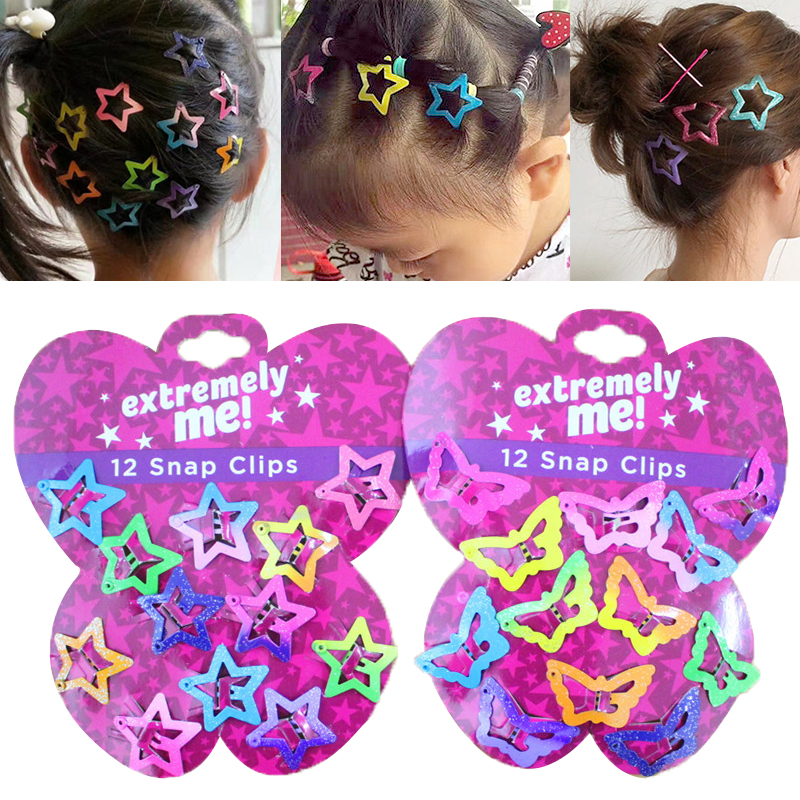 12PCS//Set Kids Barrettes Girls/' BB Clip Candy Color Hair Clips Hair Accessories