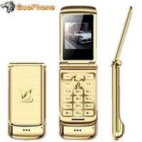 Original Ulcool V9 Luxury Flip Phone 1.54 Dual Sim Camera MP3 Bluetooth FM Dialer Anti lost Metal Body Mini Mobile Phone