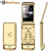 "Original Ulcool V9 Luxus Flip Telefon 1,54 ""Dual Sim Kamera MP3 Bluetooth FM Dialer Anti-verloren Metall Körper mini Handy"