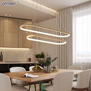 Image 5 - מלבן מודרני Led תליון מנורות לסלון מסעדה דקורטיבי חדר שינה תליון אור Lamparas AC85 260V שלט רחוק