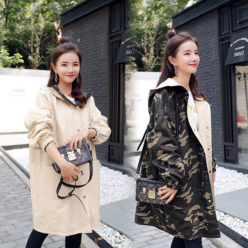 Harajuku Hoodies Coat Women Camouflage   Trench   Coat Bf Loose Casual Hooded Long Outerwear Spring Autumn Korean Clothes Plus Size