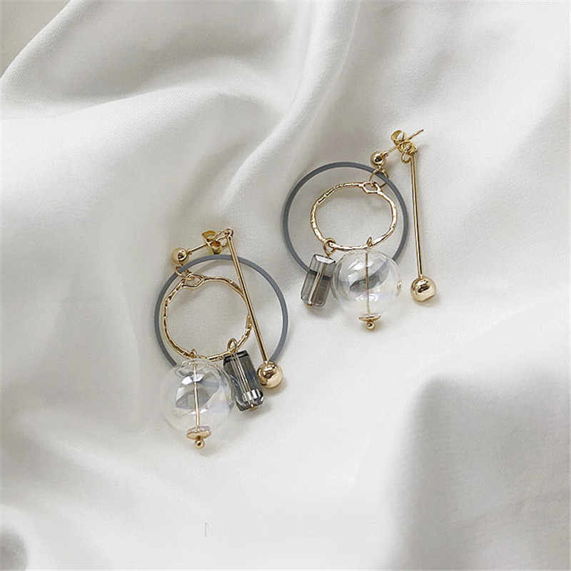 2019 new design brand earrings transparent glass simple earrings for women.