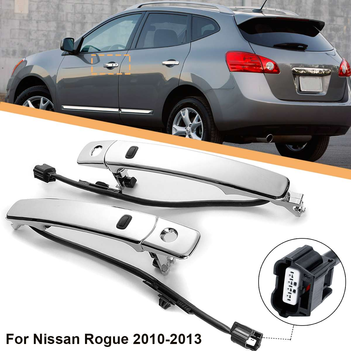 Front Left / Right Outside Chrome Door Handle Smart Entry For Nissan Rogue 2010 2011 2012 2013Front Left / Right Outside Chrome Door Handle Smart Entry For Nissan Rogue 2010 2011 2012 2013