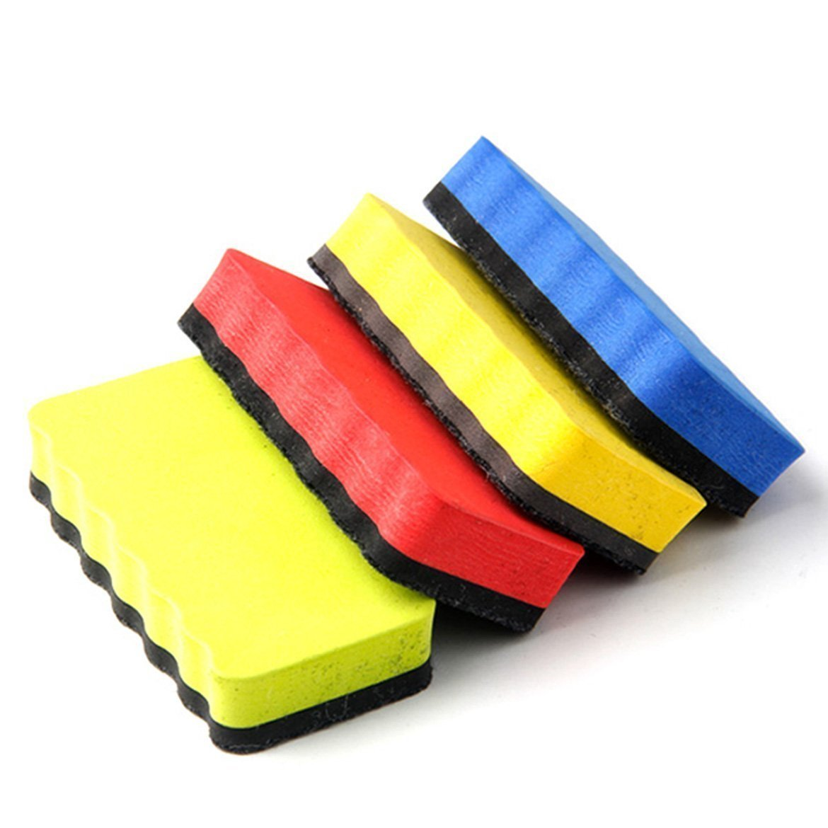 4pcs Magnete Witheboard Eraser Magnetic Plate Rub Foam Board Cleaner For Dry-wipe Whiteboard Random Color
