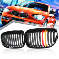 Pair Shiny Gloss/Matte Black Front Grille Double Slat For BMW F20 1 Series 2010 2014 Car Racing Grills