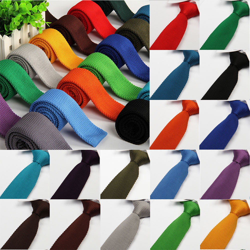 Christmas Tie Men'S Colourful Tie Knit Knitted Ties Necktie Narrow Slim Skinny Woven Plain Cravate Narrow Neckties