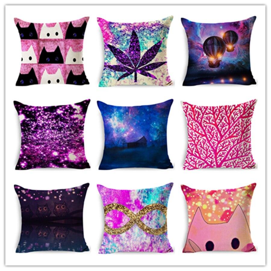 2019 Quality home decor cushion cotton linen throw pillow romantic lovely cat printed cozy seat back bedding pillowcase 45x45cm