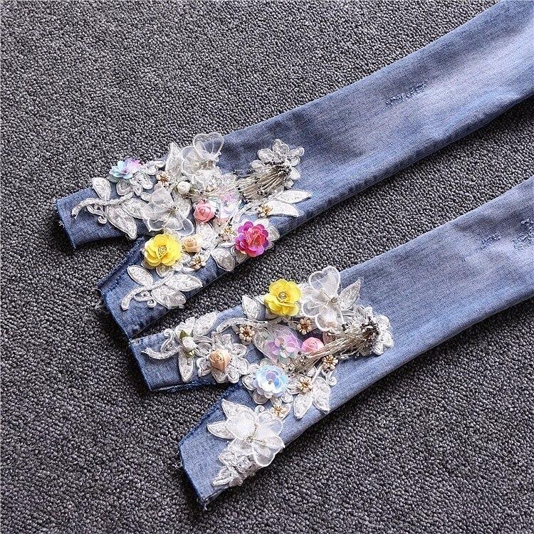 Floral Slim Lentejuelas De Recién Elástico Con Bordado 2019 Algodón de Las Mujeres Tobillo Pantalones Para Flare Azul Llegados xFqE5wSO