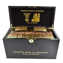 Праздничные сувениры 1200 шт. 5,8 Г Зимбабве сто триллионов долларовая Золотая Банкнота с водяным знаком горлышко в форме с деревянная коробка для подарка