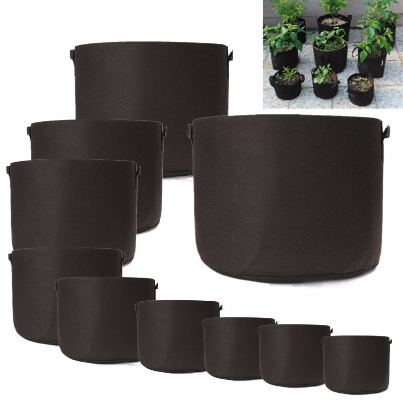 Black Fabric Pots Plant Grow Bags with Handles Planting Bag