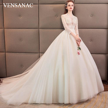 VENSANAC Illusion O Neck Tulle Court Train Ball Gown Wedding Dresses Hollow Out Pearls Three Quarter Sleeve Bridal Gowns