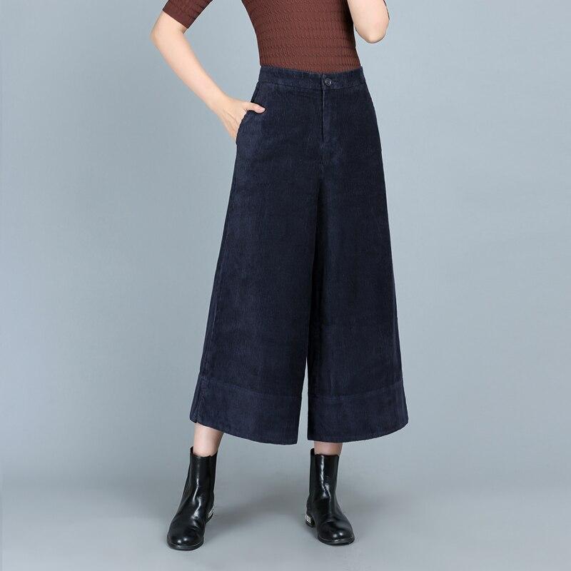 Automne et hiver nouveau velours côtelé section épaisse neuf points pantalon large jambe femme lâche taille haute décontractée coton pantalon droit