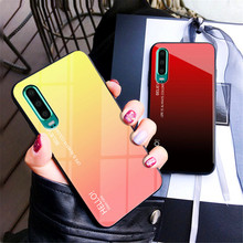 For Huawei P30 Case Gradient Luxury Colorful Anti-Scratch Tempered Glass Back Cover Slim Phone Funda Glitter