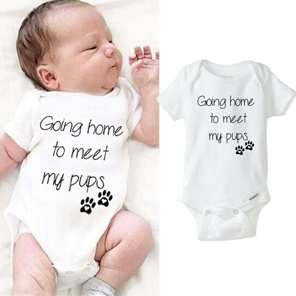 Dog Footprints Infant Newborn Baby Boy Girl Clothes Letter Baby Romper Jumpsuit Outfit Going Home To Meet  My Pups