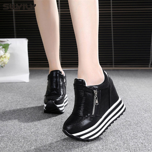 Image 4 - SWYIVY 11cm Wedge Shoes For Woman Sneakers White Shoes 2019 Spring/Autumn New Fashion Womens Footwear Ladies Casual Shoes Black
