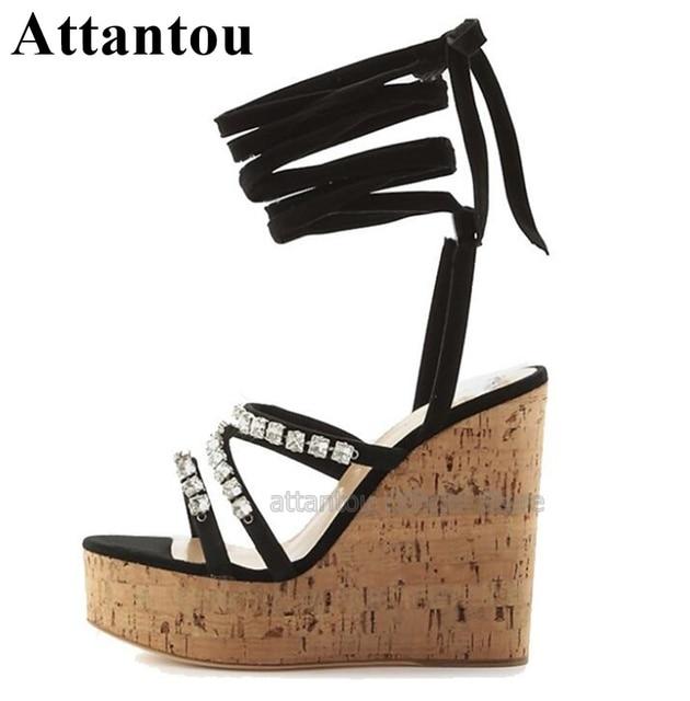 Sandalia Negra De Madera Cuña Sandalias Mujer Verano Alto Para Cruzadas Zapatos Grano Estampado Con Nuevas Tacón Cuñas w0mnN8vO