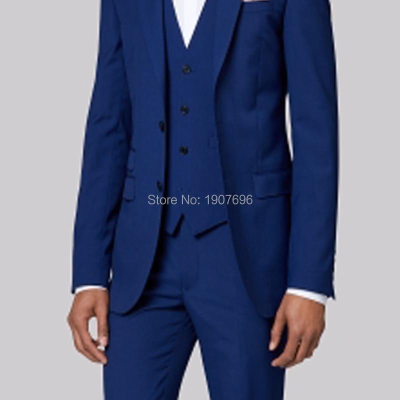 Królewski niebieski szyte na miarę Groom smokingi dla mężczyzn garnitury ślubne Prom Party kostiumy sceniczne 3 sztuka garnitury męskie zestaw kurtka spodnie kamizelka w Garnitury szyte na miarę od Odzież męska na  Grupa 3