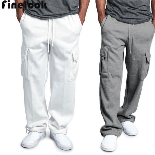 Men's Jogger GYM Heavy Weight Fleece Cargo Pocket Sweat Pants With Drawstring