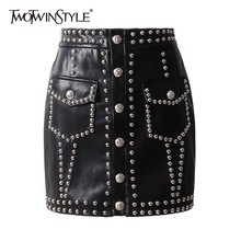 TWOTWINSTYLE Heavy Rivets PU Leather Skirts High Waist Single Breasted Mini Skirt For Women Punk Style 2019 Spring Fashion