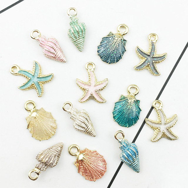 Drop Oil  Alloy Fashion Starfish Jewelry Conch Charms Making Handmade Accessories Bracelet Earrings Pendant  13pcs/Set DIY
