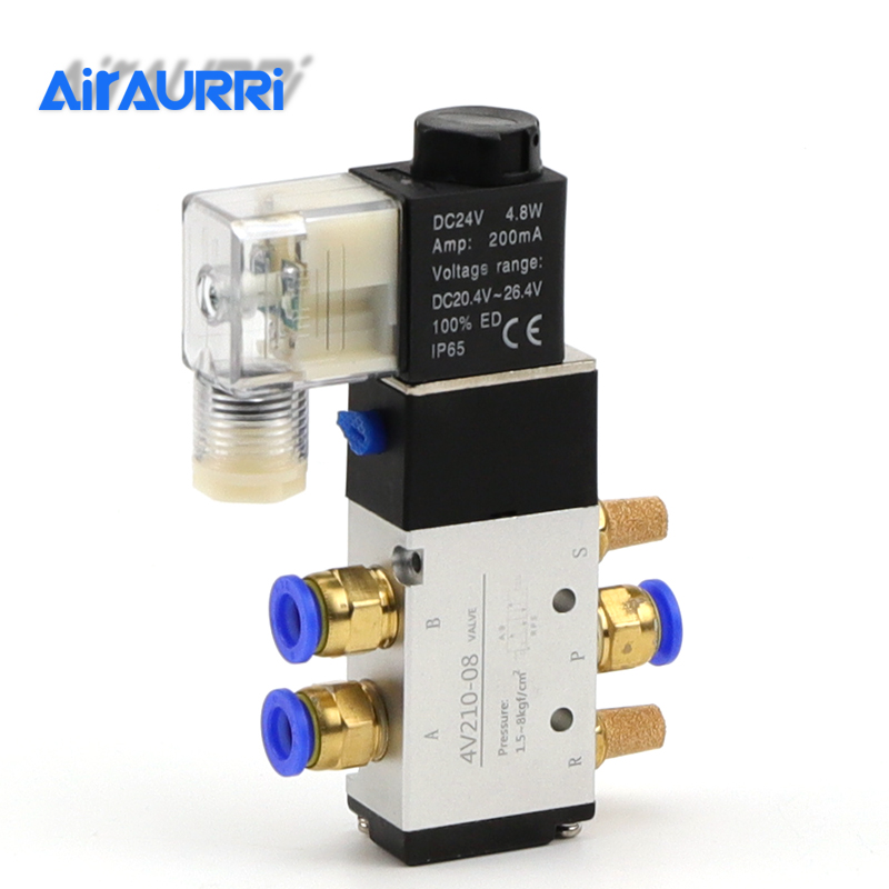Pneumatic Electric Solenoid Valve 5 Way 2 Position Control Air Gas Magnetic Valve 12V 24V 220V