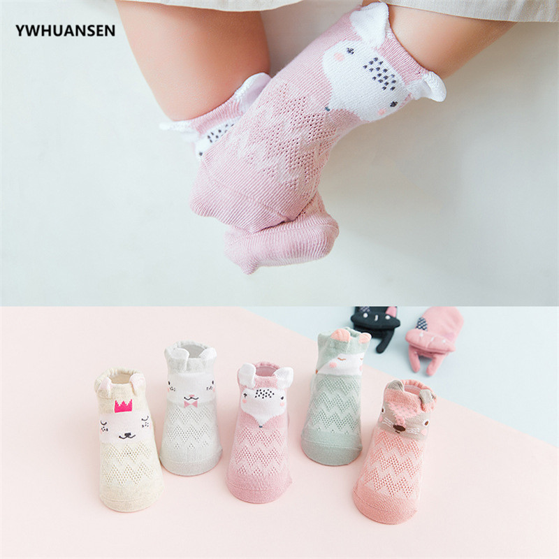 YWHUANSEN 5 Pairs/lot Summer Mesh Socks For Newborns Baby Cute Cartoon Socks For Girls Thin Soft Cotton Boy Child Socks Infants