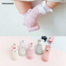 YWHUANSEN, 5 par/lote, calcetines de malla de verano para recién nacidos, calcetines bonitos de dibujos animados para niñas, calcetines finos de algodón suave para niños