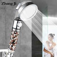 ZhangJi nuevo Arrivel 3 funciones SPA ducha cabeza interruptor de parada baño ajustable ahorro de agua Spray ABS anión filtro cabezal de ducha