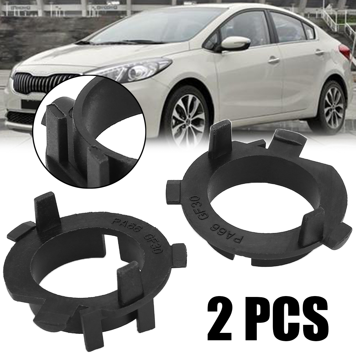 2Pcs Car H7 LED Headlight Bulb Retainers Holder Adapter Fit For Hyundai Veloster