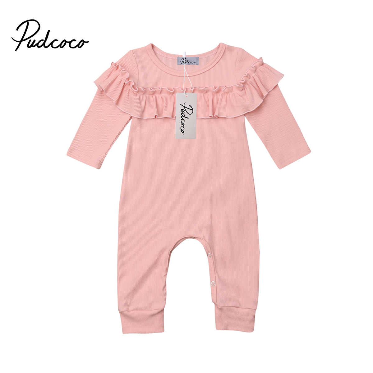 Pudcoco Cute Newborn Infant Baby Girls Cotton Ruffle   Romper   Jumpsuit Long Sleeve Princess Kids Outfits Clothes