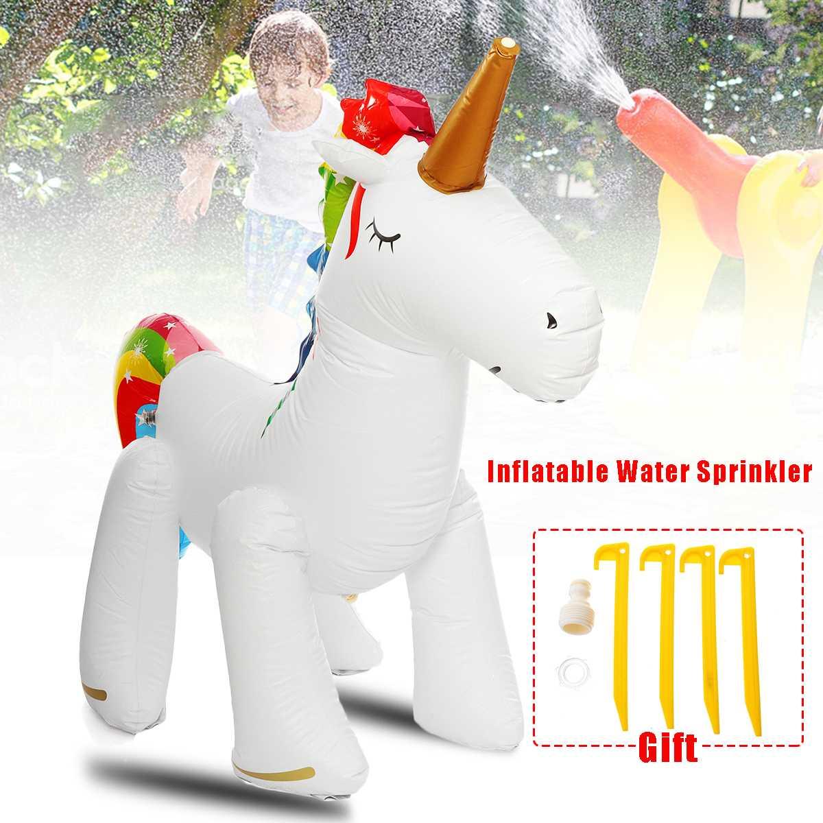 Arroseur d'eau jouet enfants en plein air amusant été Splash tuyau gonflable Unicornn jouer Yard été arroseur jouet plage balle pulvérisation pelouse