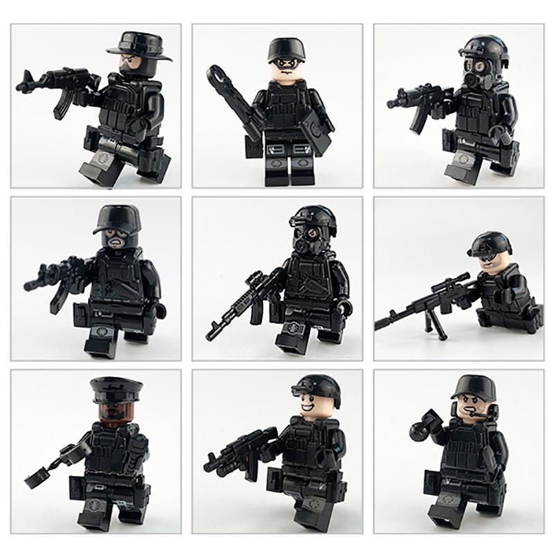 Hot 12pcs/set Military Special Forces Soldier Bricks Figures Guns Weapons Compatible Legoings Armed SWAT Building Blocks Kid Toy