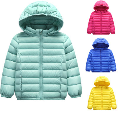81fa944a3 Autumn and Winter Children Pure Color Down Jacket Filled with Velvet ...