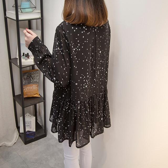 Plus size Women Tops and Blouses 2020 Spring Autumn Star Printing Chiffon Shirts oversize Loose Long sleeve Blusas Femininas 5