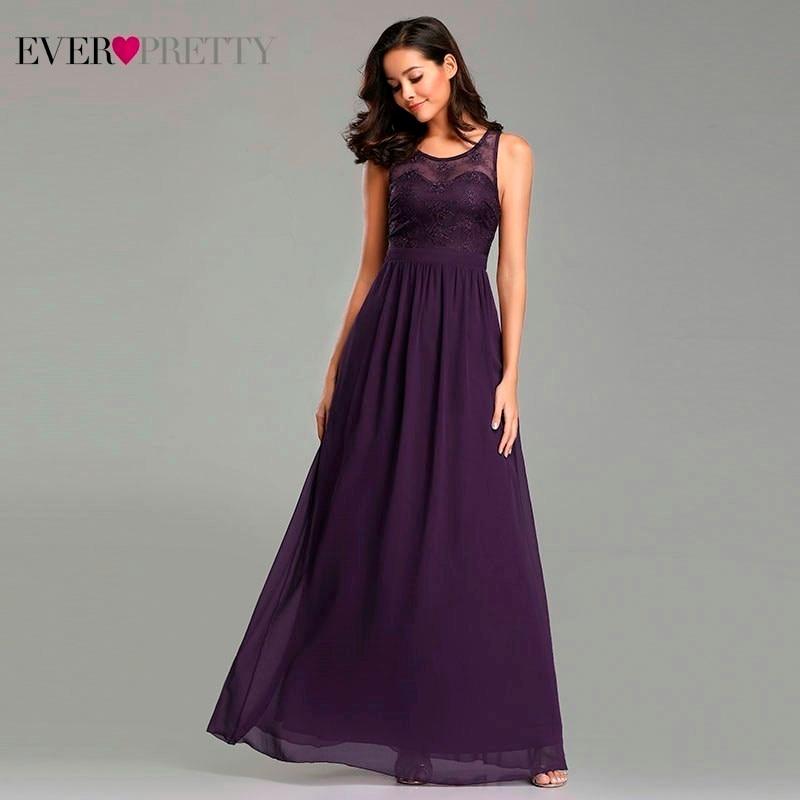Dark Purple Bridesmaid Dresses Long Ever Pretty O-Neck Lace Appliques Sleeveless Formal Dresses 2019 Elegant Wedding Guest Gowns