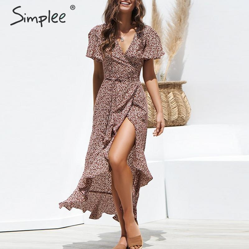 Simplee сексуальное кружевное леопардовое длинное платье с принтом летнее женское платье с v-образным вырезом и коротким рукавом в горошек плю...