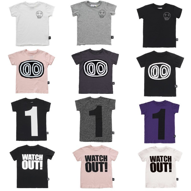 Kids T Shirts 2019 Nununu Summer Boys Girls Number 1 Skull Print Short Sleeve T Shirts