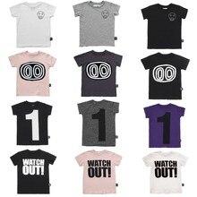 Детские футболки 2019 Nununu лето обувь для мальчиков девочек номер 1 Череп печати футболки с коротким рукавом маленьких детей хлопковые футболк