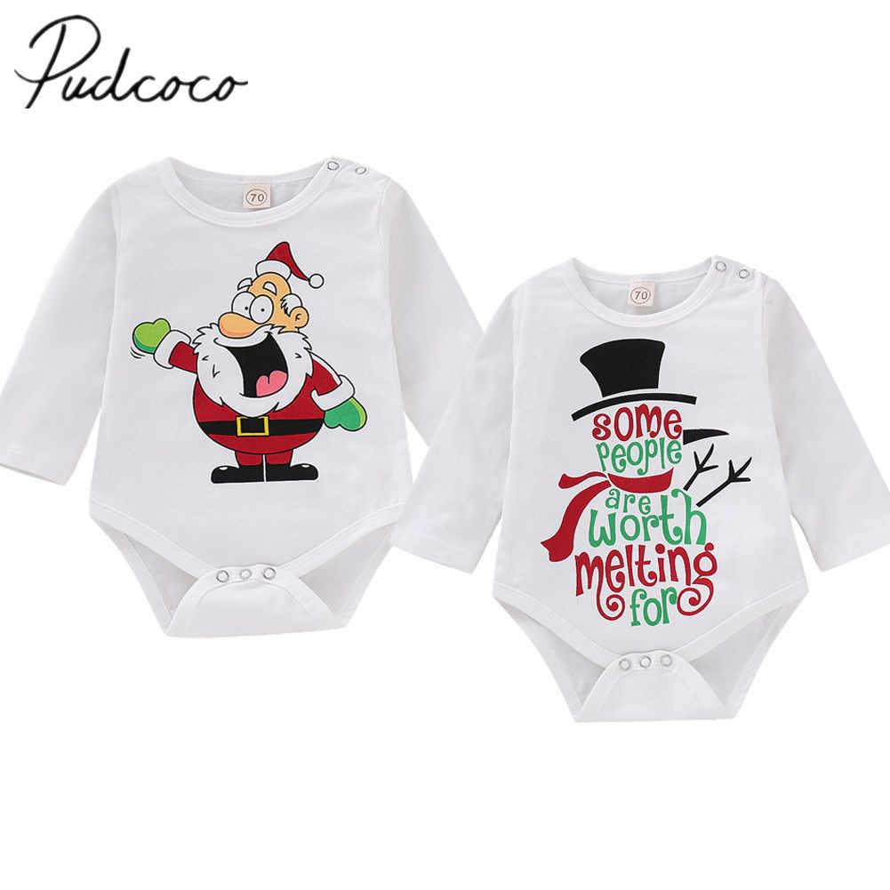 36ccc0f76709 2018 Brand New Newborn Infant Kid Baby Girl Bos Autumn Christmas Bodysuits  Santa Snowman Print Long