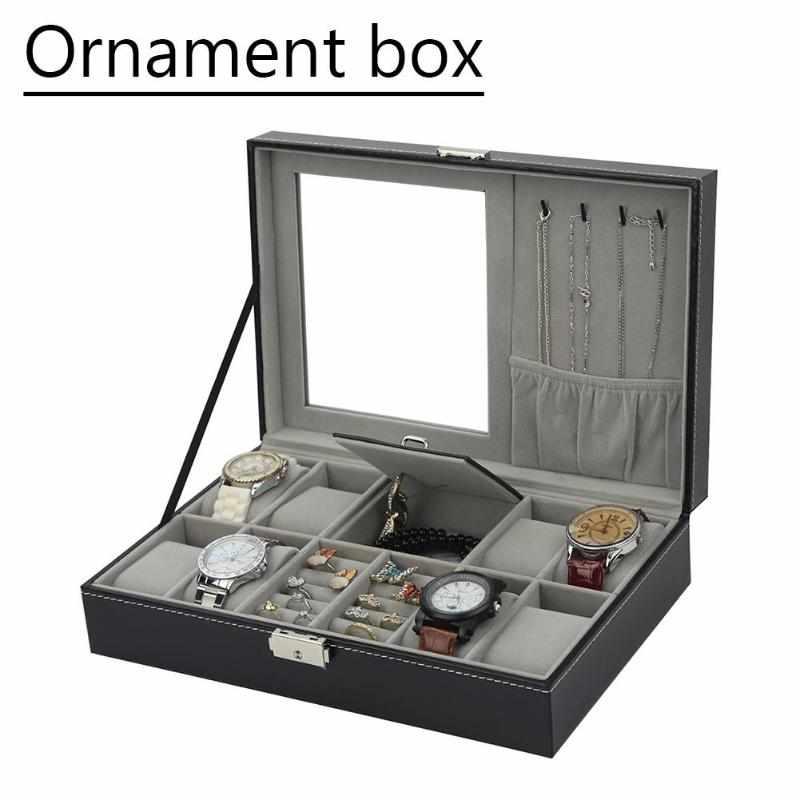 Multifunktions Hohe Qualität Schmuck Box Schwarz PU Leder Uhr Box High-end-Uhr Ringe Armband Schmuck Lagerung Geschenk Box