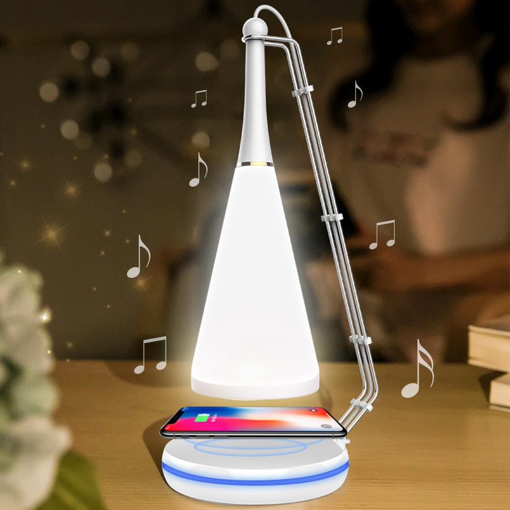 Led Night Lights Multifunction Led Table Desk Lamp Wireless Charging Pad Cell Phone Charger Holder Stand With Touch Control Bluetooth Function Always Buy Good Led Lamps