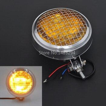 """Amber Lens Chrome Bezel 6"""" Mesh Grill Headlight Lamps Fits For Harley Chopper Bobber Cafe Racer"""