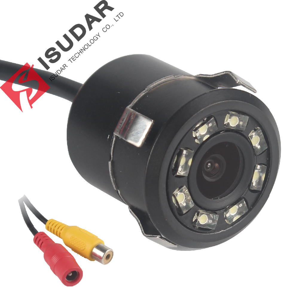 Isudar Reverse Camera Security 8 LED HD Waterproof Rear Camera Night Vision DC 12V Shockproof Parking Camera Anti jamming
